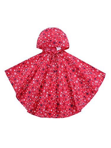Urbear poncho impermeabile da bambini mantella pioggia antipioggia poncho con bag 80-160cm,rosso s(80-100cm