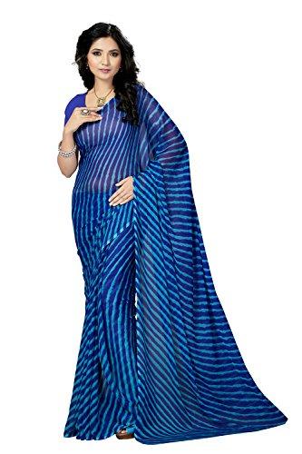 Rani Saahiba Lehriya Printed Chiffon Saree Without Blouse ( SKR3647_Blue )