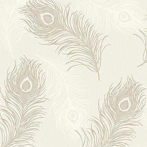 Preisvergleich Produktbild Debona Tapete, Viola, Feder Muster Glitzer Motiv bird Strukturierte Vinyl Tapete Taupe 40913