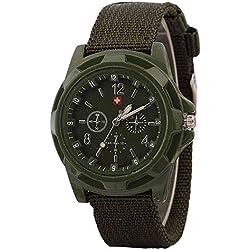 JiaMeng Moda Reloj de Pulsera de Cuarzo de Estilo Militar Reloje Hombres Blue Ray de Cristal Cuarzo analógico Reloj de Aleación Analógica (Ejercito Verde)