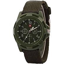 JiaMeng Moda Reloj de Pulsera de Cuarzo de Estilo Militar con Esfera Verde Militar para Soldado