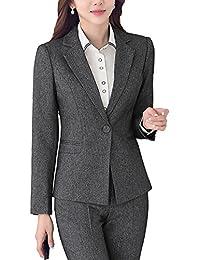 SK Studio Damen Business Hosenanzuge Slim Fit Blazer Reverskragen Karriere Hosen Anzug Set