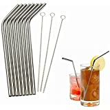 Generic 1 Piece 4X1 : High Quality Eco Friendly 8Pcs Stainless Steel Metal Drinking Straw Reusable Straws + 3 Cleaner Brush Se