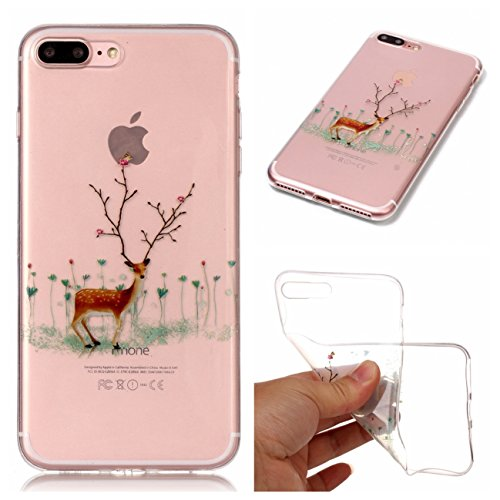 Apple iPhone 7 Plus/iPhone 8 Plus 5.5 Hülle, Voguecase Silikon Schutzhülle / Case / Cover / Hülle / TPU Gel Skin Handyhülle Premium Kratzfest TPU Durchsichtige Schutzhülle für iPhone 7 Plus/iPhone 8 P Blume Elch