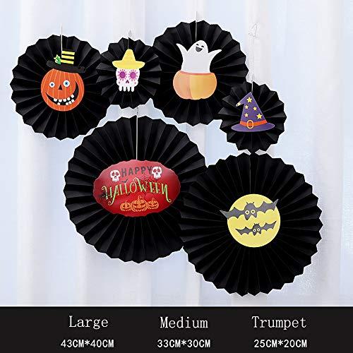 Halloween Paper Fan Blume Color Papier Ghost Festival Theme Party Dekorieren Dekorationen Bar Szene Festival Artikel Pendant 6 Stücke,Black