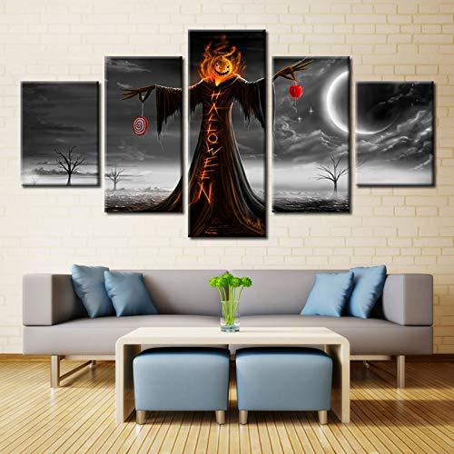 myvovo 5 Stücke Halloween Vogelscheuchen Hod Young Poster Moderne Home Decor Leinwandbild Kunst HD Drucken Malerei Auf Leinwand Kunstwerke-40x60cmx2 40x80cmx2 40x100cmx1