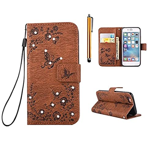 Hauwei P9 Lite PU Leather?MUTOUREN Magnetic Flip Case Cover PU Leather Anti-Scratch shock absorbing Magnetic PU Bling glittering Leather Flip Stand Case-Butterfly Flower