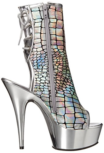 Pleaser Damen Delight-1018hg Stiefel Silber (Silber)