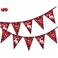 PARTY DECOR Noel Snowflake Reindeer Red Christmas Theme Bunting Banner 15 flags for guaranteed simply stylish party decoration