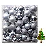 (WKG06) Weihnachtskugeln Christbaumkugeln Baumschmuck Weihnachtsbaumschmuck Deko 100er (Silber)