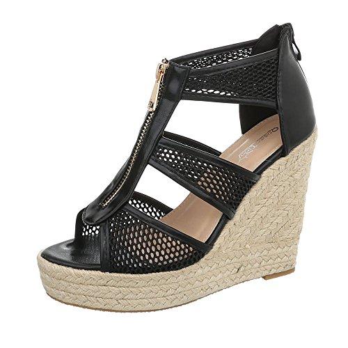 Ital-Design Keilsandaletten Damen-Schuhe Keilabsatz/Wedge Keilabsatz Reißverschluss Sandalen