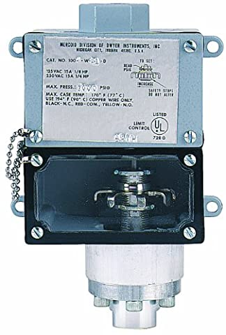 Dwyer Mercoid Series 1000W Weatherproof Diaphragm Operated Pressure Switch, Aluminum Pressure Chamber, Polyimide with Buna-N O-ring Diaphragm, Adjustable Range 75-550 psig with SPDT Snap