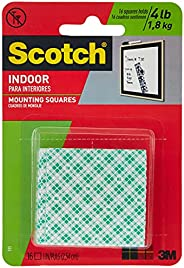 Scotch Permanent Indoor Mounting Squares 111P, 4 Squares holds up to 1 lb, white color, 1 in x 1 in (25.4mm x