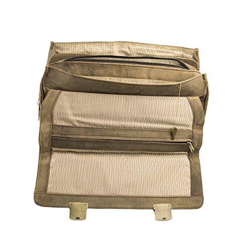 Marc Picard handgearbeitete Aktentasche Laptop bis 15,6 Zoll, Business Tasche, Schultertasche für Universität und Beruf, Herrentasche Umhängetasche, DIN-A4 Laptoptasche, Notebooktasche Tobacco