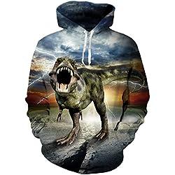 BFUSTYLE 3D Printed Dinosaur Hombres Señoras Hoodies Sudaderas Coat Jacket Pullover Puentes Fleece con grandes bolsillos para la pareja