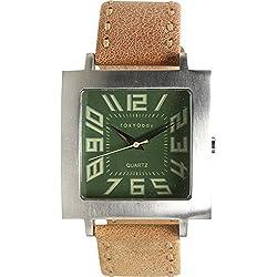 Tokyobay T105-TAN Männer rostfreies Tan-Leder-Band-grüne Vorwahlknopf-analoge Uhr