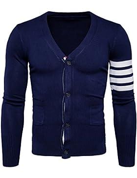 MEI&S Hebilla de hombres suéter Cardigan tejido chaqueta casual untar