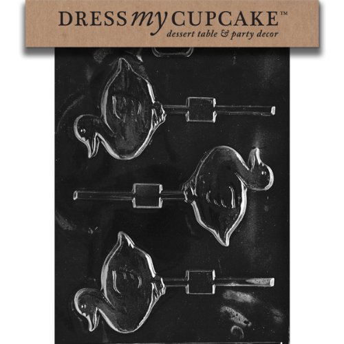 Dress My Cupcake dmce092set Chocolate Candy Mold, Anatra Lollipop, Set di 6