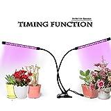 GUGUO Pflanzenlicht Wachstumslampe Pflanzenlampe||18W 40-LEDs(26 Rote,14 Blaue)||Dimmbar 9 Lichtstärken||mit Klemmhalterung||3 Timing-Modi(3H/9H/12H)||360° Schwanenhals||für Büro,Haus||USB-Adapter