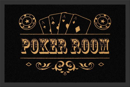 empireposter - Fußmatte - Poker Room - Größe (cm), ca. 60x40 - Türmatten, NEU - Beschreibung: - Mit dieser Matte ist alles gesagt. Hochwertige, bedruckte Fußmatte für Innen & Außen. Der Gummirand hat Grip und passt sich dem Boden perfekt an. -