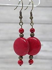 Boucles d'oreilles rouge style Zen en bronze antique et perles plates en turquoise reconstituée rouge