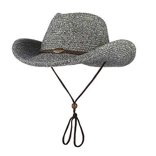 WGYXM Hut, Männer und Frauen Winddicht Gürtel großes Visier spanischen Stil Cowboy Strohhut, grün A, M