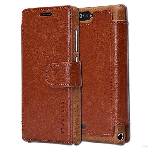 Mulbess Layered Dandy Ledertasche im Bookstyle und Kartenfach für Huawei P7 Mini hülle Tasche Leder,Vintage Braun