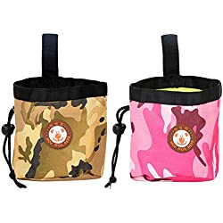Youlala Futtertasche für Haustiere, für den Außenbereich, Tragbare Futtertasche, Gürtelclip, integrierter Beutelspender (zufällige Farben)