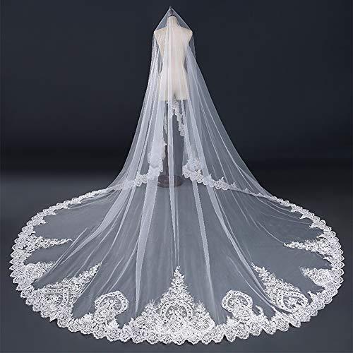 Y.L Master Hochzeitsschleier Braut Lange Weiße Schleier Kathedrale Spitze Ziehen Dreidimensionale Blumenstickerei,White,3 * 4m