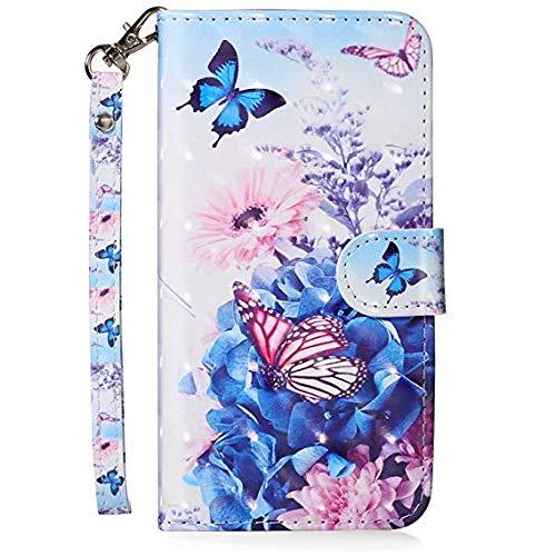 Felfy Kompatibel mit iPhone 5C Hülle Tasche Leder PU Handyhülle 3D Creative Bunt Muster Leder Wallet Case Flip Cover Klapphülle Brieftasche Lederhülle mit Kartenfächer - Schmetterling (5c Wallet Iphone Leder Case)