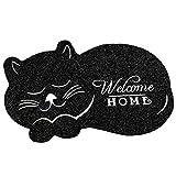 Hankyky - Felpudo de Entrada para Gato durmiendo, tapete para Piso para Interior/Exterior/Puerta Delantera/baño de Goma, Antideslizante