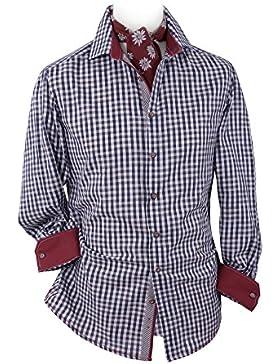 Top-Quality Trachtenhemd Herren - Blau-Karo/kariert - Langarm/Kurzarm - Komfort Baumwolle Hirsch-Stickerei