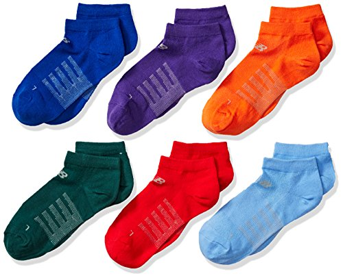 New Balance pour enfant No Show Chaussettes (lot de 6), blanc/violet/bleu/vert/jaune/orange/rose, taille de chaussure 9.5–3 Grey/Green/Purple/Dark Blue/Light Blue/Orange/Red