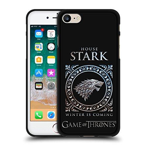Head Case Designs Ufficiale HBO Game of Thrones Metallico Sigils - Stark Design Vari Cover in Morbido Gel Nera per iPhone 7 / iPhone 8