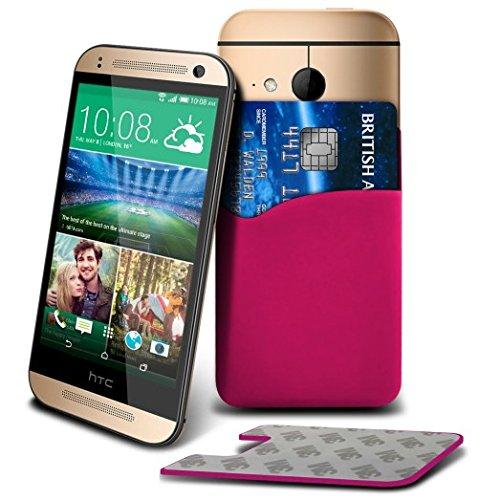 (Pink) Samsung Galaxy A3,SM-A300F,SM-A300F/DS,A300G/DS,A300H/DS,A300M/DS Premium-Maß Schutzhülle Slim Silicon Stick On Adhesive intelligenter Beutel Kredit / Debit-Karten-Slot Case Hülle, Compatiable mit den meisten Smartphones oder Elektrische Geräte Exklusiv für Elite-Zubehör Mobile Kreditkarte