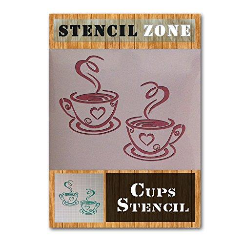 Kaffee-Tee-Becher Home Küche Mylar Gemälde-Wand-Kunst-Schablone (A4 Größe Stencil - Small) -