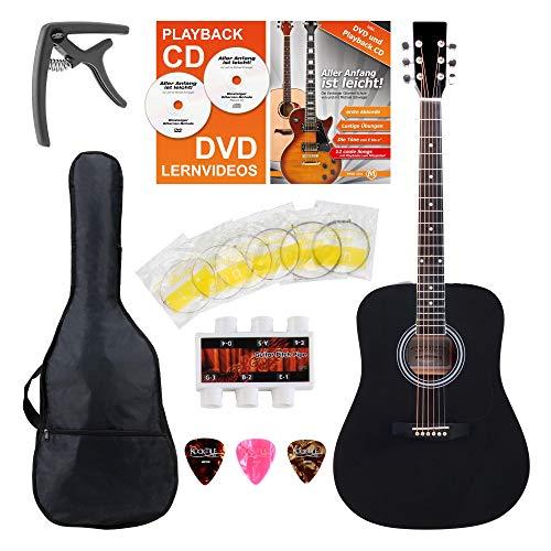 Classic Cantabile WS-10BK Westerngitarre Starter-Set (Dreadnought-Style, 6 Saiten, 20 Bünde, inkl. Zubehörset, Gitarrentasche, Notenheft, Saiten, Plektren) schwarz