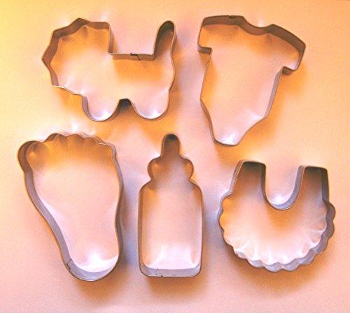 Baby Thema Cookie Cutter Flasche Lätzchen Einteiler Buggy Fuß Biscuit Edelstahl Fondant Form zum Backen Set