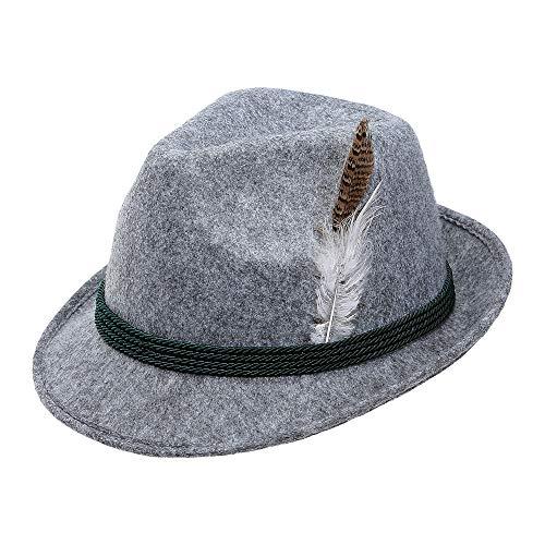 WIDMANN 68576 Bayerischer Hut mit Feder, Unisex- Erwachsene, Grau (Mit Hut Feder)