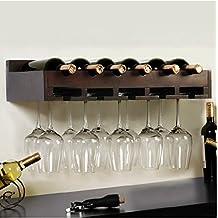 Montato a parete in legno vetro vino