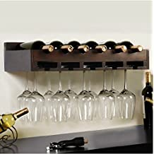Montato a parete in legno vetro vino rack creativa moda cantinette portabottiglie di vino vino vetro separatori rack,Nero