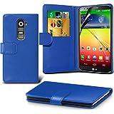 ( Blue ) LG G2 Ledergeldbörse Flip Hülle Tasche Mit-Schirm-Schutz-Schutz By Spyrox