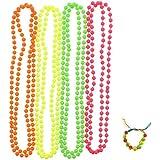 Zac's Alter Ego® Set of 4 Fluorescent Neon Plastic Colour Bead Necklaces with Multicolour Neon Bracelet
