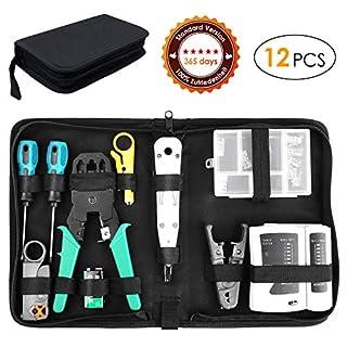 FIXKIT 12 in 1 Netzwerk Reparaturwerkzeuge, Professionell Netzwerk Werkzeug Set Netzwerk-Tool-Kit, geeignet für DIY, Haushalt oder Fabrik