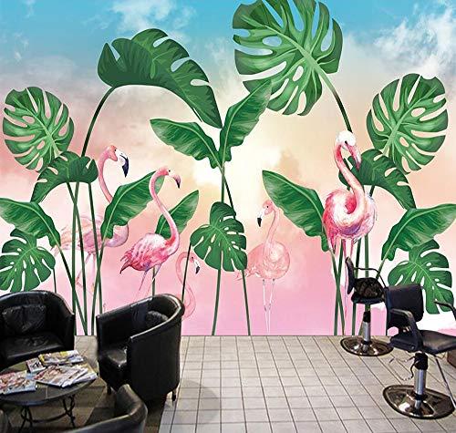 Carta Parati 3DPersonalizzato Grande 3D Nordico Piccolo Fresco Tropicale Foresta Pluviale Foglia Di Banana Fenicottero Giardino Camera Tv Sfondo
