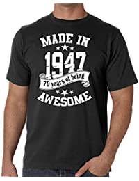Mens 70th Birthday T-shirt - Made In 1947 - 70 Years Of Being Awesome Gift T-shirt