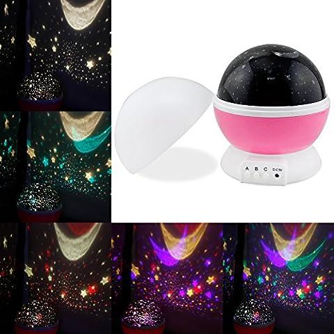 Perlas de Sun And Star Night Lamp Lighting 4 LED Lámpara romántica giratoria de la estrella del cielo de la luna Proyectores Bebé Nursery Dormitorio Cuarto de niños y regalo de Navidad