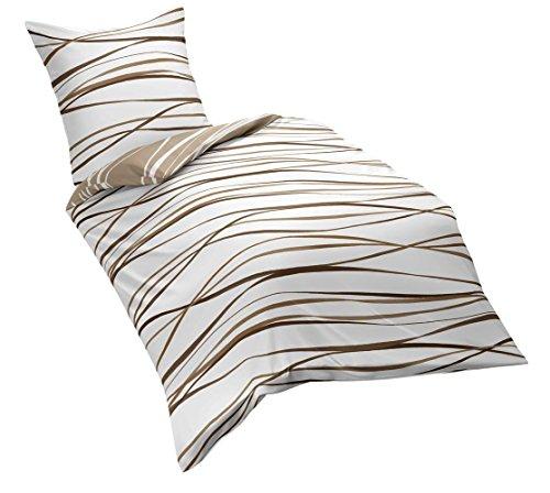 Kaeppel Mako Satin Bettwäsche Essential Motion Größe 135x200+80x80 cm Farbe Natur