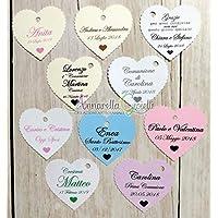 Cartellini per bomboniera personalizzati, 41x45 millimetri, bomboniere, vari colori, a partire da 30 pezzi, cuore, etichette, tag matrimonio, battesimo, comunione, cresima