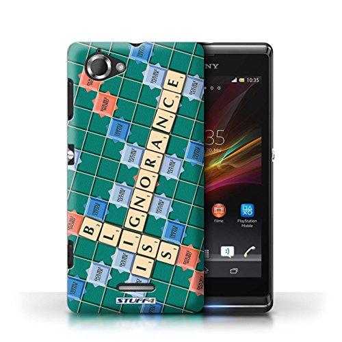 Kobalt® Imprimé Etui / Coque pour Sony Xperia L/C2105 / Jours Heureux conception / Série Mots de Scrabble Ignorance Béatitude